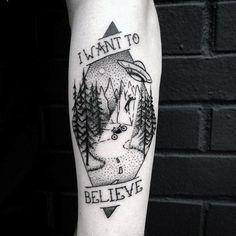 Mens I Want To Believe Tattoo Alien Leg Calf Design Inspiration Tattoo Hurt, Tattoo Pain, Bad Tattoos, Calf Tattoo, Little Tattoos, Love Tattoos, Tattoos For Guys, Tattoos For Women, Small Tattoos