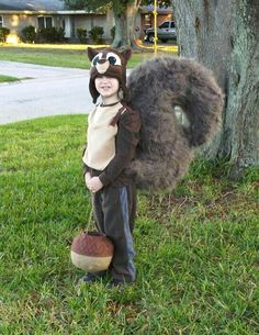 Squirrel Halloween costume with acorn treat bucket made by Tina Mix www.tinamixonline.com