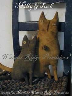 Folky+Cats++Milly+and+Tuck+Pattern+by+Walnut+Ridge+by+wrprimitives,+$12.00