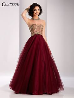 Clarisse unique burgundy Ball Gown 2017 prom dress style 3011 | Promgirl.net