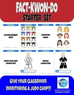 FACT-KWON-DO is a classroom monitoring tool that can be used at any grade level and for any subject. It can be done in a few simple steps, too. Novice and veteran teachers alike can easily add this tool to their routines!Students make a character. They start with a white belt.