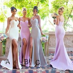 Spaghetti Straps Sweetheart Simple Bridesmaid Dresses with Small Train, Sexy Mermaid Bridesmaid Dresses with Split - Bridesmaid Dresses Pink Bridesmaid Dresses Long, Bridesmaid Outfit, Bridal Gowns, Wedding Gowns, Wedding Ceremony, Prom Gowns, Wedding Album, Lace Evening Dresses, Dress Silhouette