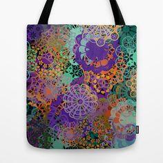 CHEERFUL FLORAL PATTERN I Tote Bag by Pia Schneider [atelier COLOUR-VISION] - $22.00 #art #floral #pattern #geometric #colourful #cheerful #orange #purple #turquoise #green #yellow #piaschneider #fashion #fashionable #trendcolours #ateliercolourvision #bag #totebag #accessoires #shoppingbag #beachbag