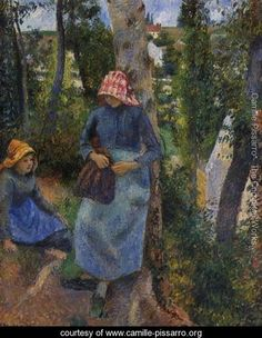 Two Young Peasants Chatting under the Trees - Camille Pissarro - www.camille-pissarro.org