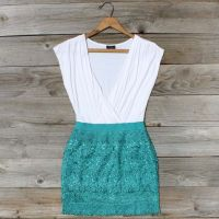 teal tucked lace dress