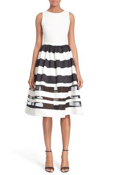 Alice + Olivia Alice + Olivia 'Larue' Illusion Stripe Fit & Flare Dress available at #Nordstrom