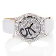 """Victoria Wieck """"It's 5 O'Clock Somewhere"""" Pavé Crystal Leather Strap Watch at HSN.com."""