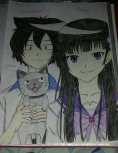 My drawing of Rea Sanka, Chihiro Furuya and Babu from Sankarea.......