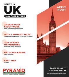 Creative Poster Design, Creative Posters, Uk Visa, Overseas Education, Scholarships For College, Social Media Design, Ielts, Social Work, May