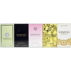 VERSACE VARIETY by Gianni Versace 5 PIECE WOMENS MINI VARIETY WITH VERSENCE & CRYSTAL NOIR & BRIGHT CRYSTAL & YELLOW DIAMOND & VANITAS AND ALL ARE EDT .17 OZ MINIS