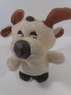 "Vintage Reindeer Plush Cream Color Stuffed Animals Moose Floppy Antlers 9"" Toy  #UnknownNoSeamTag"