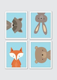 Woodland Animals Prints, Woodland Animals Nursery Art, Baby Boy Nursery Prints…