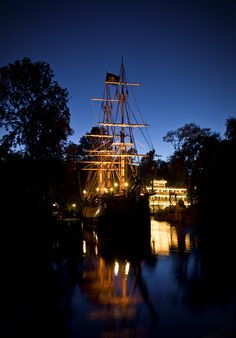 #Disneyland: The Columbia And Mark Twain At Blue Hour
