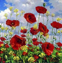 Dmitry Levin - paintings and prints for sale of artist Pictures Of Poppy Flowers, Landscape Paintings, Watercolor Paintings, Red Poppies, Poppies Art, Belle Photo, Flower Art, Beautiful Flowers, Art Drawings