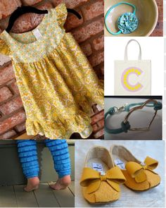 Comfortable style for little girls.  Handmade yellow dress, ruffle leggings, personalized tote, handmade shoes, flower headband    visit style-a-kid.blogspot.com for daily kids style inspiration :)