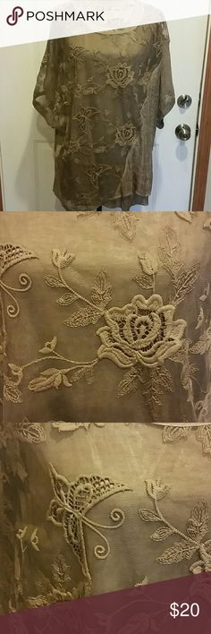 Gorgeous embroidered overlay blouse Tank underneath, sheer overlay with embroidery flowers and butterflies. Light olive green. Worn once. Simply Couture Tops Blouses