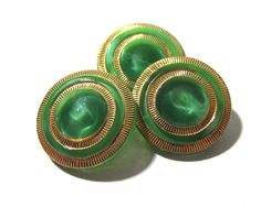 Green Moonglow Glass Buttons West Germany VINTAGE Green and Gold Luster Buttons Three (3) Vintage Buttons Jewelry Sewing Supplies (G213) by punksrus on Etsy