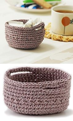 Crochet Basket - Free Pattern- i want to try this with jute, on a larger scale for misc. baskets!