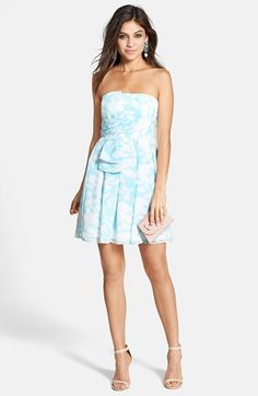 a. drea Watercolor Pattern Strapless Fit & Flare Dress (Juniors) available at #Nordstrom