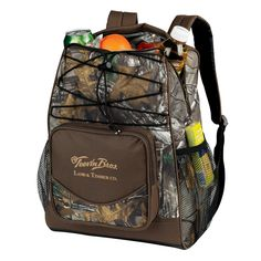 Our Realtree APX Camouflage Backpack Cooler made of tough 600 Denier Polyester holds 20 cans plus ice and has a double heat sealed no-leak liner, PEVA lead free cooler liner. It's features include 2 mesh side pockets, a large front gusset pocket, padded backpack straps, and a top zipper for easy access.
