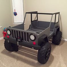Jeep Bed Plans – Twin Size Car Bed – Finance tips, saving money, budgeting planner Jeep Bed, Childrens Beds, Kid Beds, Toddler Beds For Boys, Cool Beds For Boys, Toddler Car Bed, Bed Plans, Baby Kind, Kids Furniture