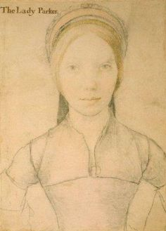 A sketch of Jane Parker, Lady Rochford, by Hans Holbein. Jane Parker was the vindictive wife of George Boleyn, Lord Rochford. George was Anne's brother, and Jane gave testimony against the siblings, alleging sexual misconduct.     Jane Parker would later act as the bawd for Henry VIII's fifth wife (and Anne's cousin) Katherine Howard.     Fittingly, Jane Parker would be beheaded for her role in arranging trysts for her mistress.