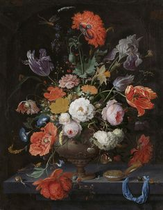 Abraham Mignon,Still Life with Flowers and a watch, ca. 1660 - ca. 1679