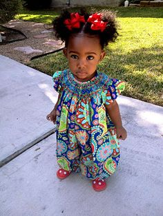 crazy patterned fabric romper with smocked detail. Love this - must get PJ one immediately!