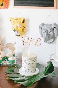 Smash cake from a Jungle 1st Birthday Party on Kara's Party Ideas | KarasPartyIdeas.com (19)
