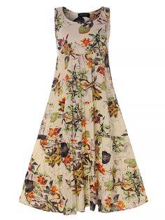 Gracila Vintage Floral Print Sleeveless Crew Neck Maxi Dress Online - NewChic Mobile