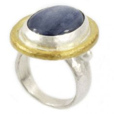 Sterling Silver layered in 24K Gold Kyanite Ring with Granulations by GURHAN