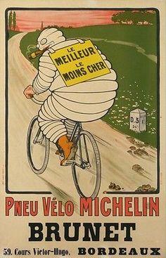 VINTAGE MICHELIN BICYCLE POSTER-PNEU VELO MICHELIN LE MEILLEUR LE MOINS CHER