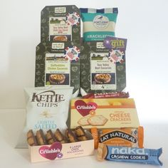 Gluten free parcel for students; A selection of gourmet gluten free foods and treats including Look what we found meals. These are made with 100% natural ingedients & taste fantastic as well as being quick to prepare. Gorgeous chocolate macaroons and cheese crackers from Mrs Crimble's. Who could resist these?