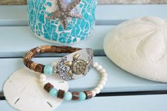 TURTLE BEACH BRACELET Set of Two Stacking by aquadecorator on Etsy