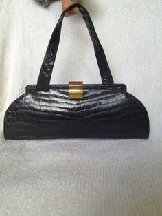 Very Chic Black Alligator Vintage Handbag from the by 1happyred, $375.00
