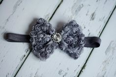 Chiffon Rose Bow Gunmetal Gray with gray elastic by LBBoutique12, $15.00