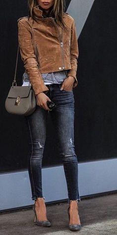 #fall #outfits · Zara Jeans + Shoulder Bag + Suede Jacket