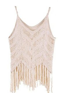 Hot Sexy Crochet Tassel SunTops Vintage Hollow Out Camis Beige Knitwear -- Continue to the product at the image link.Note:It is affiliate link to Amazon.