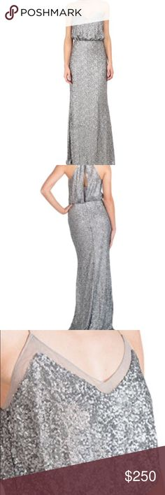 Badgley Mischka Matte Silver Sequin Mermaid Gown Comfortable and slimming! Can be worn with or without the racerback option! Worn once as a bridesmaid dress. Badgley Mischka Dresses Wedding