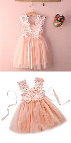 Elegant Feast Baby Girls Princess Lace Flower Tulle Tutu Gown Formal Party Dress (2-3 Years, Pink)