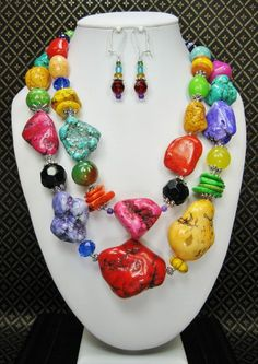 COLORED PATCHES - CHUNKY MULTICOLOR STATMENT Cowgirl Necklace Set / Rainbow / Fiesta / Western / Southwestern / Double Strand Statement - See more at: http://www.buckaroobay.com/catalog.php?item=7892#sthash.tLg33xXw.dpuf