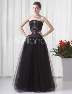 Ball Gown Black Net Beading Strapless Floor-Length Womens Prom Dress. See More Strapless at http://www.ourgreatshop.com/Strapless-C937.aspx