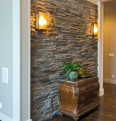 Love interior stone accent walls and columns. Gives Rustic classy look. Faux stone is so much more realistic now. Easy DIY panels to install check out a sample Faux Stone Walls, Stacked Stone Walls, Faux Brick Panels, Stone Accent Walls, Brick Paneling, Stone Panels, Stone Wall Design, Stone Interior, Interior Design