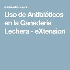 Uso de Antibióticos en la Ganadería Lechera - eXtension