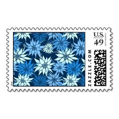 Blue Flowers postage  #postage #stamp #stamps #zazzle #flowers #floral #flower #nature