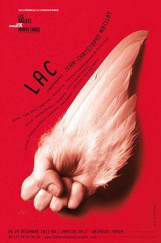 Michal Batory - Lac (les ballets de Monte Carlo), 2012  -> Photomontage, typographie libre qui suit la forme de l'élément central