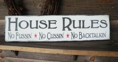House rules family rules wall decor by mockingbirdprimitive