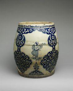 Flower Pot 1700–1750 Mexico, Mexican culture, Majolica earthenware, H. 45.7 cm, Met, 11.87.41