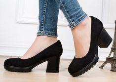 df0c8fa8e Office Platform Round Toe Square Heels Pumps Shoes