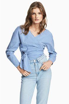 Overslagblouse - Blauw/wit geruit - DAMES   H&M NL